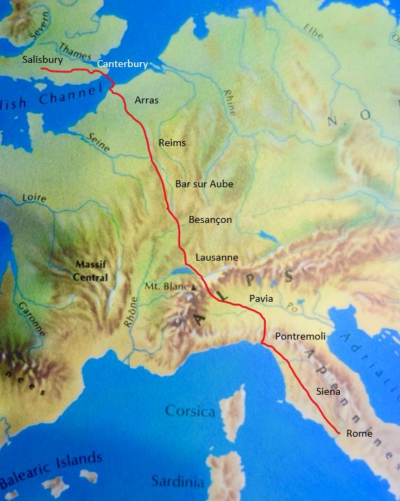 The approximate route Tom and Julie will take from Salisbury to Rome